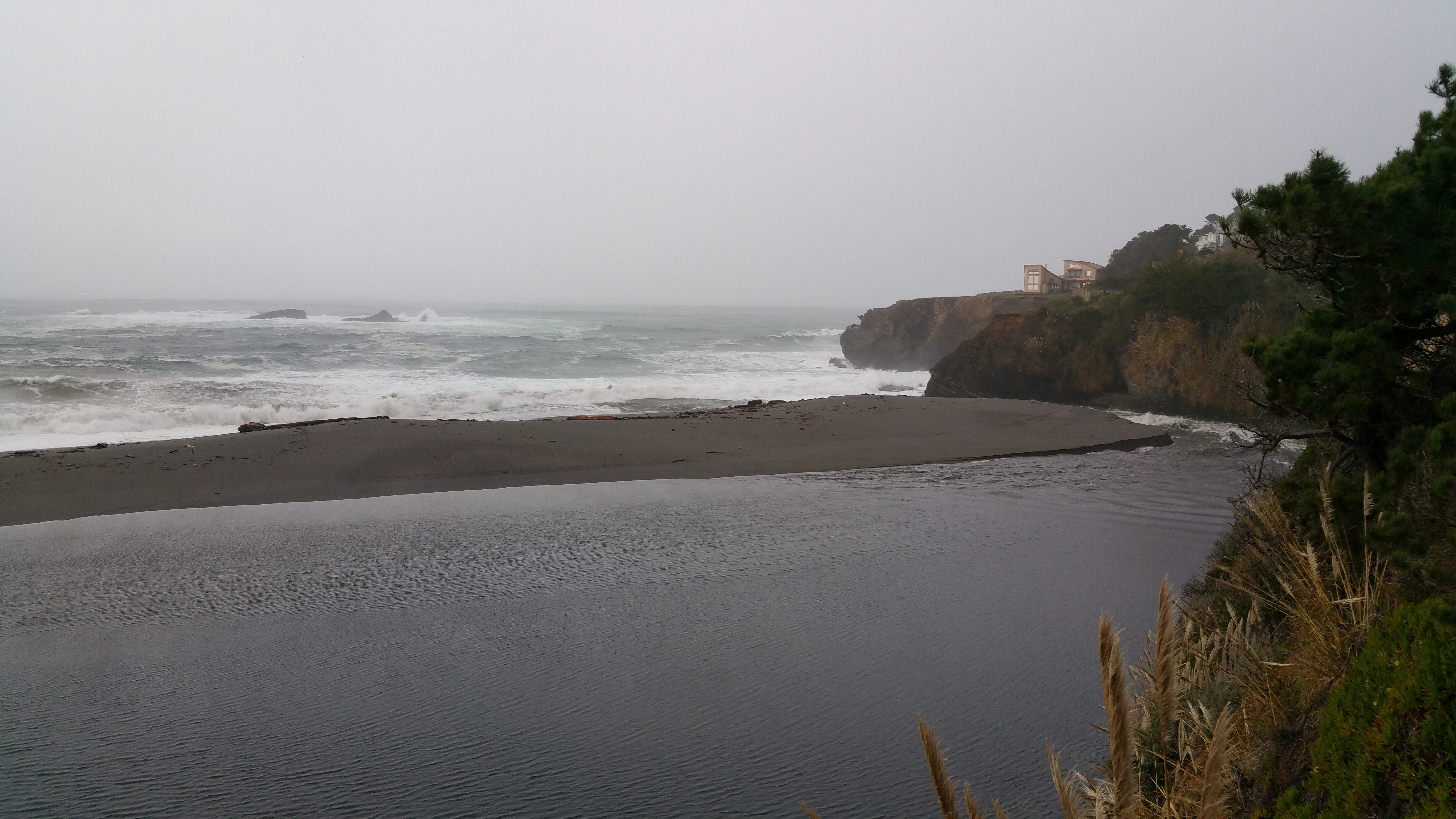 The Gualala River broke through the sandbar on Thursday, December 10, 2015 around noon. It opened at the very north end of the estuary.